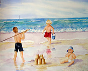 Grandkids On Beach