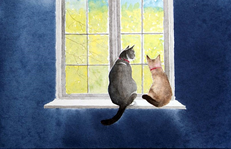 Cats On A Window Sill