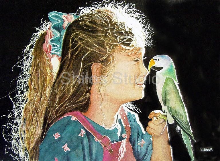 Girl Wirh Parrot