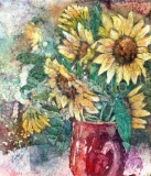 Sunflowers in a Red Vase Batik