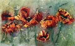 Red Poppies Batik