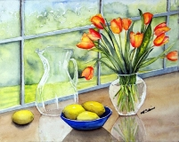 tulips on the window