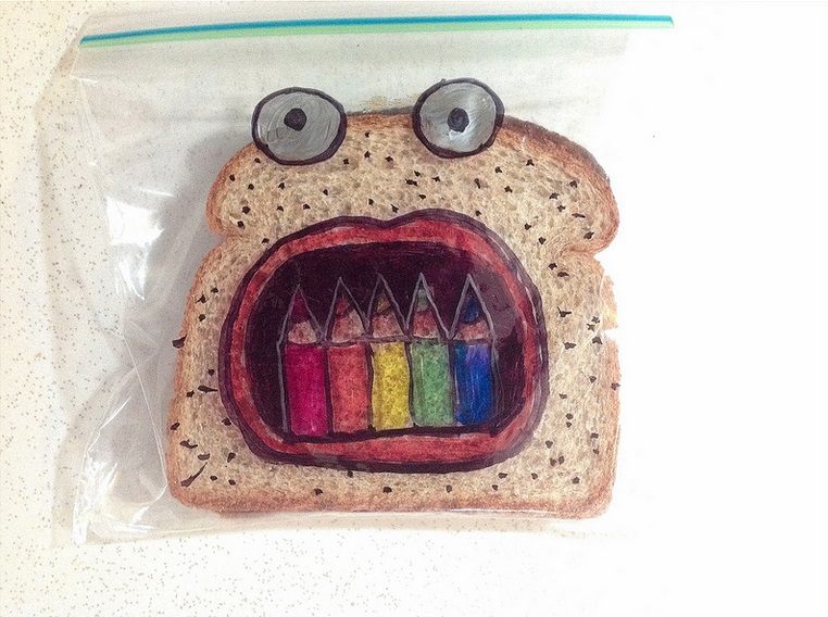 Sandwich eating crayons