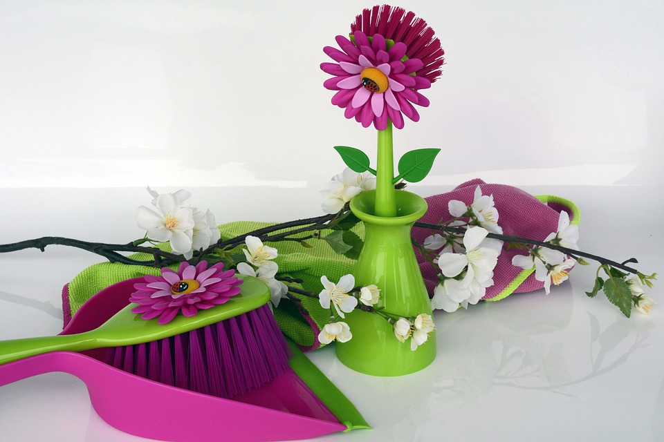 Pink and Green cleaning supplies with flowers